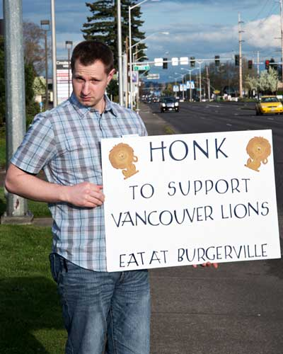 picture of Anthony Zoeller at Burgerville fund raising event